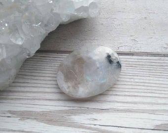 Rainbow Moonstone Thumb Stone. Smooth Stone Polished Carved Gemstone Flat Pebble