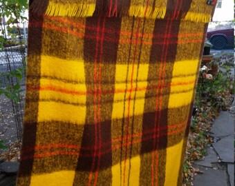 Blanket Vintage Mohair Wool Finland Mohairella Hyvilla Oy Vintage Gold Brown Plaid Throw Lap Rug