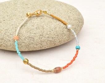 Seed beads bracelet, Miyuki bracelet, Gemstone bracelet, Dainty bracelet, Minimalist jewelry, Friendship bracelet, Boho chic, Gift for her