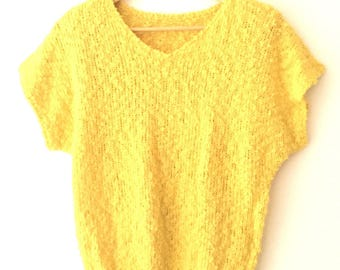 Vintage Knubby Yellow Knit Top