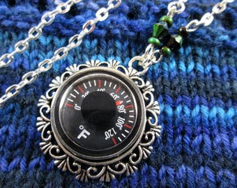 Temperature Necklace - Color Changing - Thermometer with Mood Beads - Silver