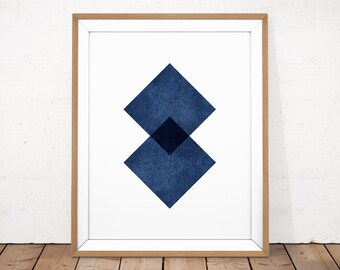 Navy Abstract Print, Navy Blue Print, Abstract Printable, Scandinavian Poster, Blue Geometric Wall Art, Graphic Print, Modern Minimalist Art