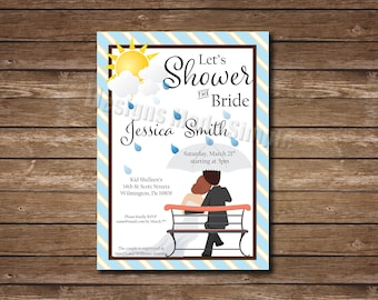 Couple on Bench Bridal Shower Invitation - Printable - customizable