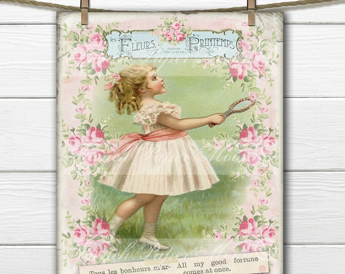 Adorable Shabby Digital Victorian Girl, Vintage French Graphics, Scrapbooking, French Pillow Graphic Transfer Image, Download