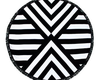 "Round Beach Towel - Roundie - Beach Blanket ""Palm Springs"""
