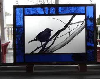 Little Bird painted stained glass panel