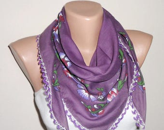purple scarf green white cotton scarf turkish scarf yemeni scarf womans scarves fashion scarf gift for her oya scarf