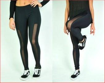 Black Leggings - Lycra & Chiffon. Workout tights. Black Tights. Fashion Leggings. Chiffon Leggings. Lycra Leggings. Spandex leggings. (LE3)