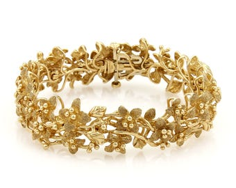 20345 - Estate Fancy Textured Cluster Flowers & Vine 14k Yellow Gold 18mm Wide Bracelet