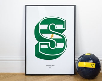 Sporting Lisbon - Football Typography Wall Art Print