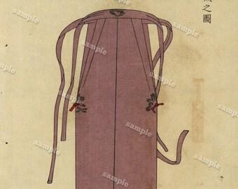 Sadasuke Imaizumi Japanese Wood Block Print  original Art decorative art From Costume Of courts swords Meijji Period