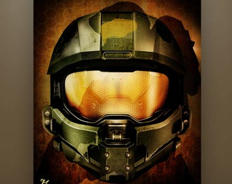"""Halo Inspired """"Halo: Master Chief"""" 11X14 signed & numbered limited Artist Proof Enlargements Available in Listing Video Game Art Halo 4"""