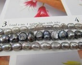 Baroque Freshwater Pearls, Grey Luster Potato Pearls, Pewter Cultured Freshwater Pearls, Iridescent Gray Keishi Pearls, 3 strands
