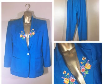 Vintage Ralph Lauren Teal Blue Women Suite / Size 6/8