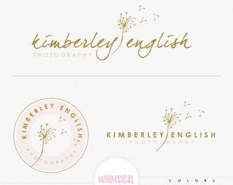 Sketchy Dandelion -Premade Photography Logo and Watermark, Classic Elegant Script Font gold glitter dandelion children Calligraphy Logo
