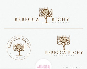 Professional Camera Tree-  cute flower Logo - natural photographer- handmade shop Logo Design- professional wedding photographer