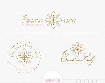 Bakery flower logo- elegant emblem soft pastel look homemade bakery branding feminine design lulxury gold glitter pinklogo shop sign design
