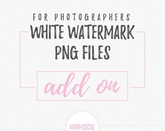 white watermark png files for photographers ADD ON
