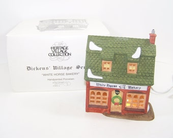 Department 56 Dickens Village White Horse Bakery 5926-9 Ceramic Lighted Collectible House Light Cord Original Box