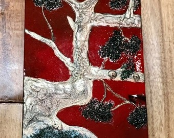 Tree Glass Panel, Red Glass Panel, Red Tree Glass Panel, Fused Glass Tree Panel, Red Fused Glass Panel