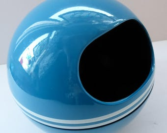 Small SPACE AGE Blue Plastic / Melamine 1960s Cotton Wool Ball Holder. Highly Collectable