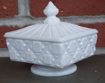 Candy Dish Vintage White Milk Glass Covered Candy Dish Quilted Patter Westmoreland Milk Glass 1940's