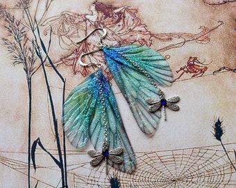 Fairy Wing Earrings, Fairy Earrings, Faerie Earrings, Blue & Green Earrings, Hand Painted, Dragonfly Earrings, Boho, Hippy, Woodland