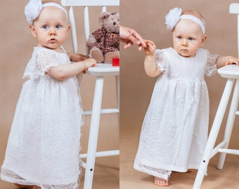 Christening dress Baby girl lace dress Baptism dress Baby girls dress Lace baptism dress Newborn dress Christening gown Baptism gown Baptism