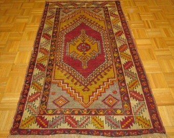 "4'6"" x 5'8""  Magnificent Antique C.1950 Turkish Kazak Rug #B34"