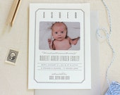 Letterpress Baby Birth Announcements with photos - 50 flat cards with envelopes - 1 ink color - modern, vintage, grey,