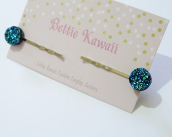 Mermaid Druzy Pair Hair Pins Faux Crystal Dragon Scale Clips Witchy Blue Sparkly Accessory Nebula Slides Iridescent Glitter Witch Lunar