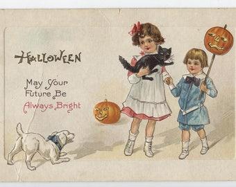 Halloween, vintage Halloween postcard, Halloween ephemera