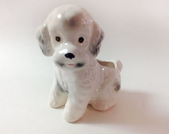 Vintage Ceramic Poodle Planter, Trinket Dish, Pencil Holder, White And Grey Poodle Planter