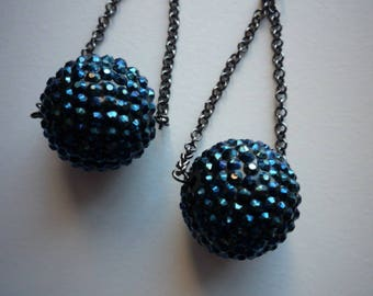 Vintage Large Mod Lucite Navy Blue Sparkly Disco Ball Dangling Earrings