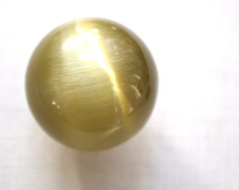 Large Sage Green Yellow Cats Eye Marble, Big Glass Marble, Vintage Marble, Fiber Optic Stone Sphere, Collectors Marble, Colorful Ball 38mm