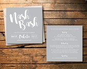 Gray Calligraphy Nashville Bachelorette Party Invitations // DIY // Printable // Nash Bash
