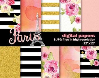 10 Paris Inspired Digital Watercolor papers. Hand Painted Watercolor Scrapbook Papers.