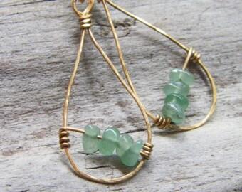 Hammered brass earrings - Sundance style jewelry - August Birthstone