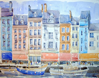Houses in Honfleur original watercolor painting Normandie watercolor decor france wall home decor french cityscape french painting french
