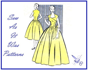"1950s Mademoiselle 3426 Asymmetrical Surplice Buttoned Bodice Flared Skirt Dress Bow Drop Waist Vintage Sewing Pattern Size 10 Bust 32"" 83cm"