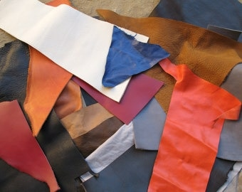 Leather scraps 30 pieces of colored assorted leather