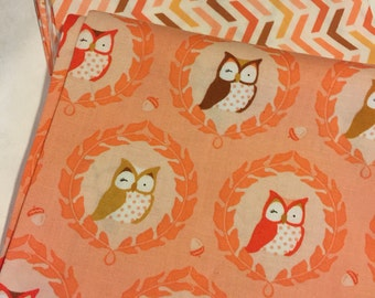 Les Amis Fabric Collection-4 Fat Quarter yards - Michael Miller Fabrics - Owls Flowers Buds Geo 100% Cotton -
