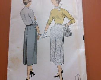 Advance 6677 Straight Skirt Kick Pleat Vintage Sew Easy Pattern 1950s 50s