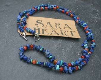 Long Necklace of Lapis lazuli, Turquoise and Carnelian.
