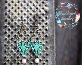 READY TO SHIP Handmade Teal Chandelier Earrings with Cream Beads