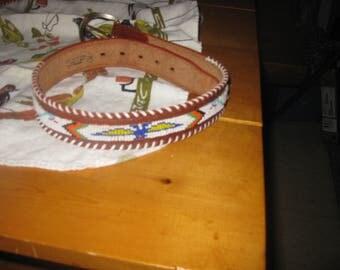 Vtg 60's leather Native beaded Wide Souvenir Belt Thunderbird pattern  brass buckle leather  2 in wide sz 28 free ship Hippie wide belt