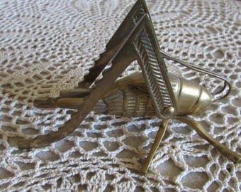 Vintage Unique Large Brass Grasshopper.