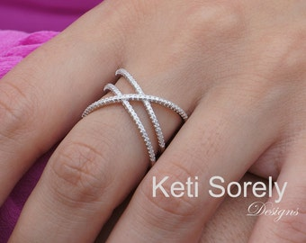 Silver Criss Cross Ring With CZ Stones - Double Cross Ring - X Ring with White Cubic Zirconia Stones