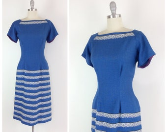 50s Blue Wool Wiggle Dress / 1950s Vintage Hour Glass Dress / Medium / Size 8