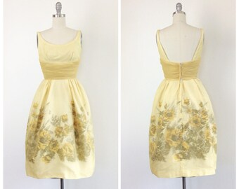 50s Yellow Floral EMMA DOMB Chiffon Dress / 1950s Vintage Prom Party Dress / Small / Size 4